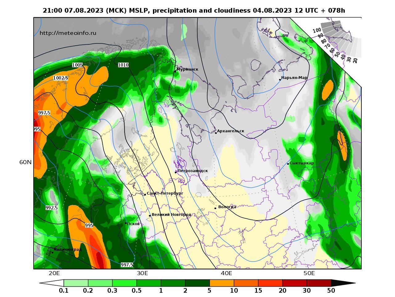 Северо-Западный Федеральный округ, прогностическая карта осадки и давление, заблаговременность прогноза 78 часов