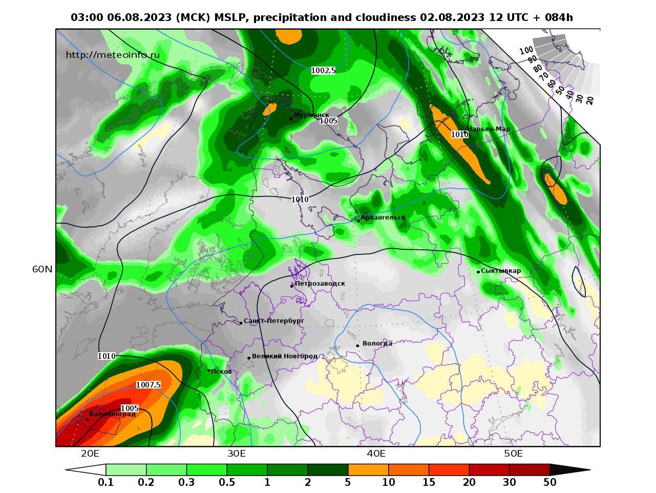 Северо-Западный Федеральный округ, прогностическая карта осадки и давление, заблаговременность прогноза 84 часа
