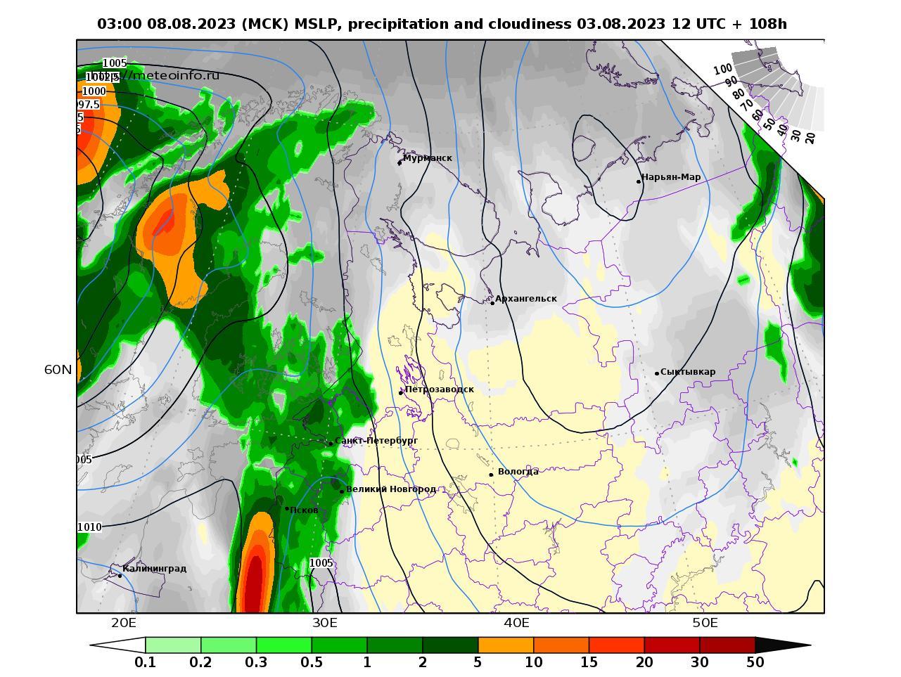 Северо-Западный Федеральный округ, прогностическая карта осадки и давление, заблаговременность прогноза 108 часов