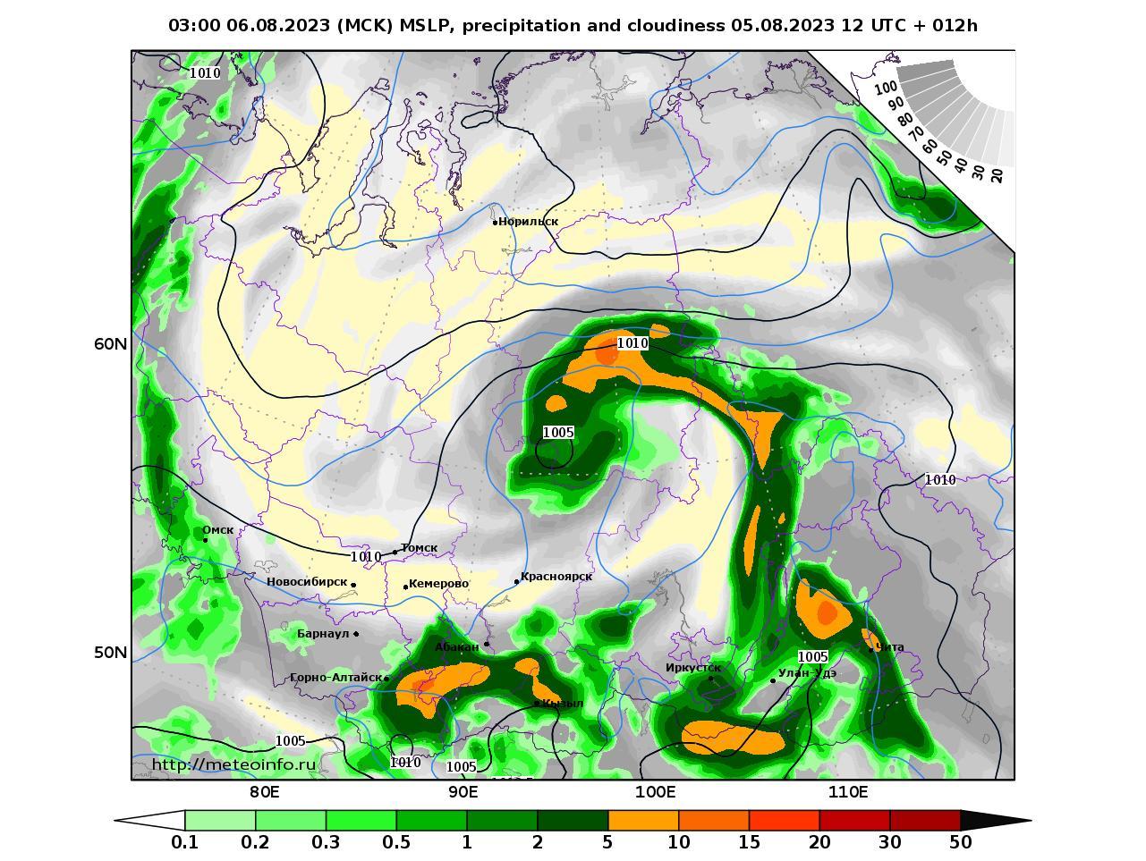 Сибирский Федеральный округ, прогностическая карта осадки и давление, заблаговременность прогноза 12 часов