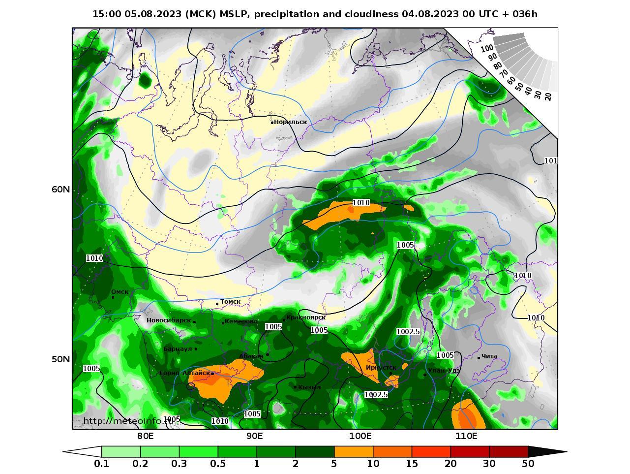 Сибирский Федеральный округ, прогностическая карта осадки и давление, заблаговременность прогноза 36 часов
