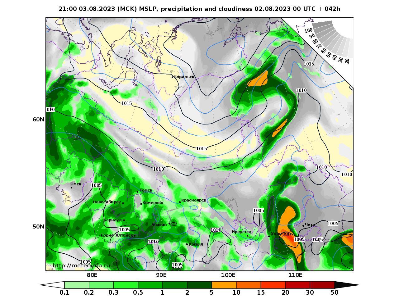 Сибирский Федеральный округ, прогностическая карта осадки и давление, заблаговременность прогноза 42 часа
