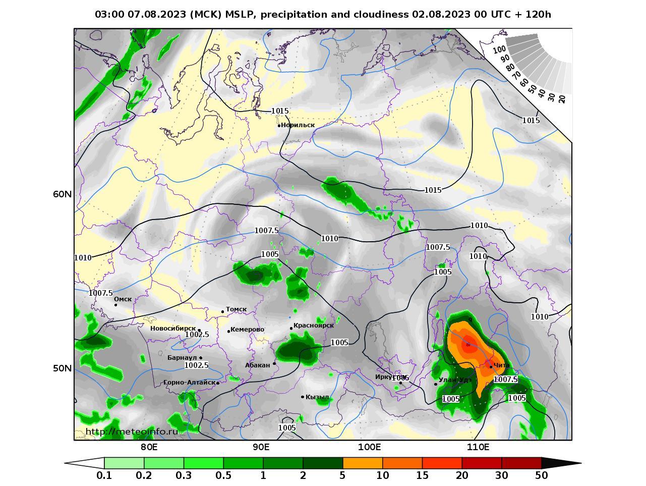 Сибирский Федеральный округ, прогностическая карта осадки и давление, заблаговременность прогноза 120 часов