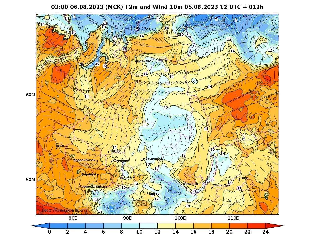 Сибирский Федеральный округ, прогностическая карта приземная температура, заблаговременность прогноза 12 часов