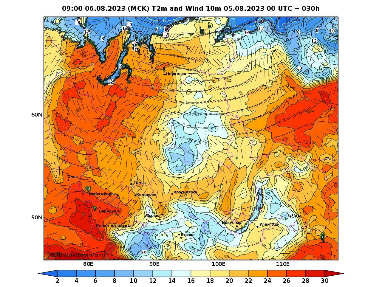 Сибирский Федеральный округ, прогностическая карта приземная температура, заблаговременность прогноза 30 часов