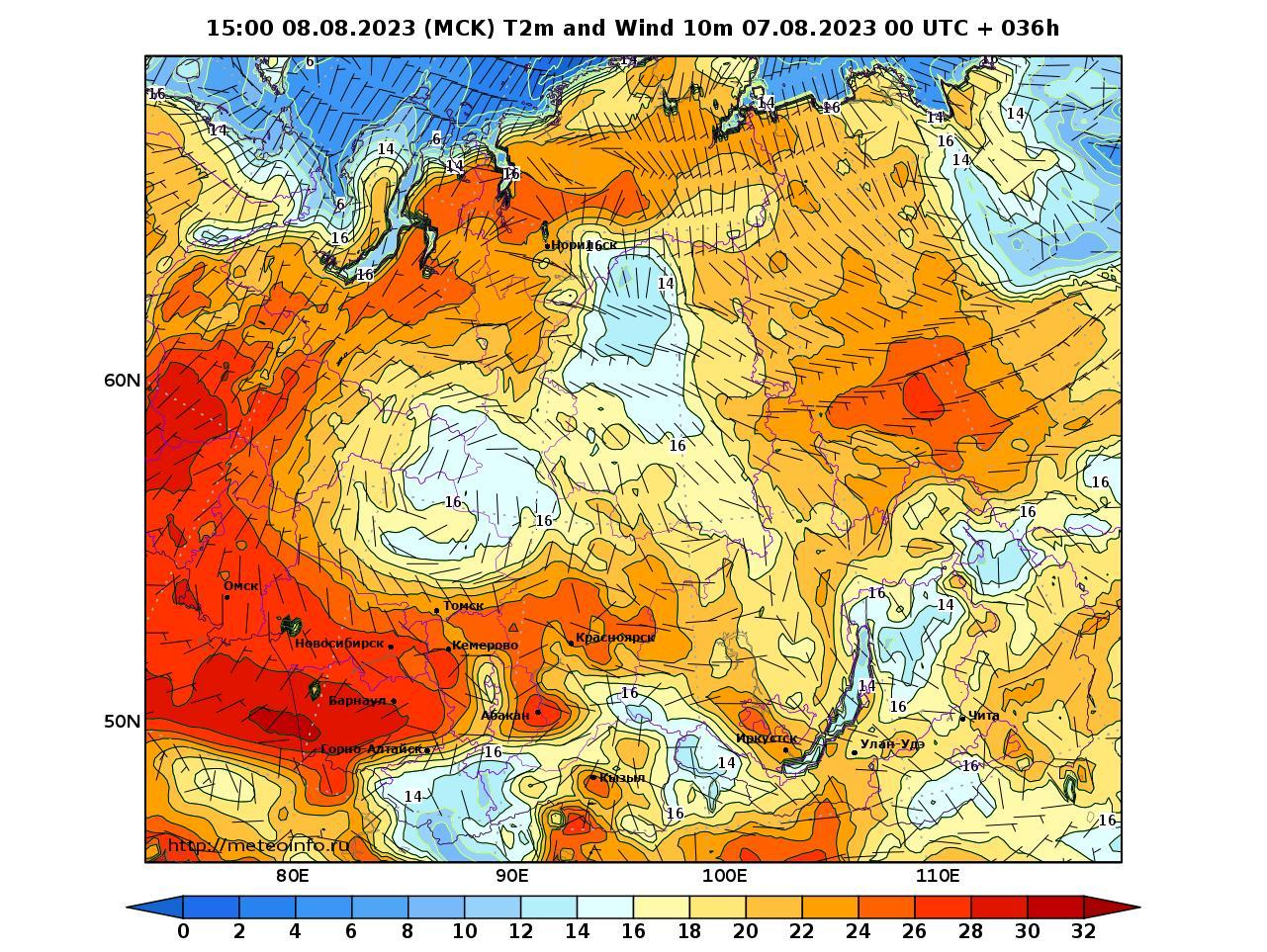 Сибирский Федеральный округ, прогностическая карта приземная температура, заблаговременность прогноза 36 часов