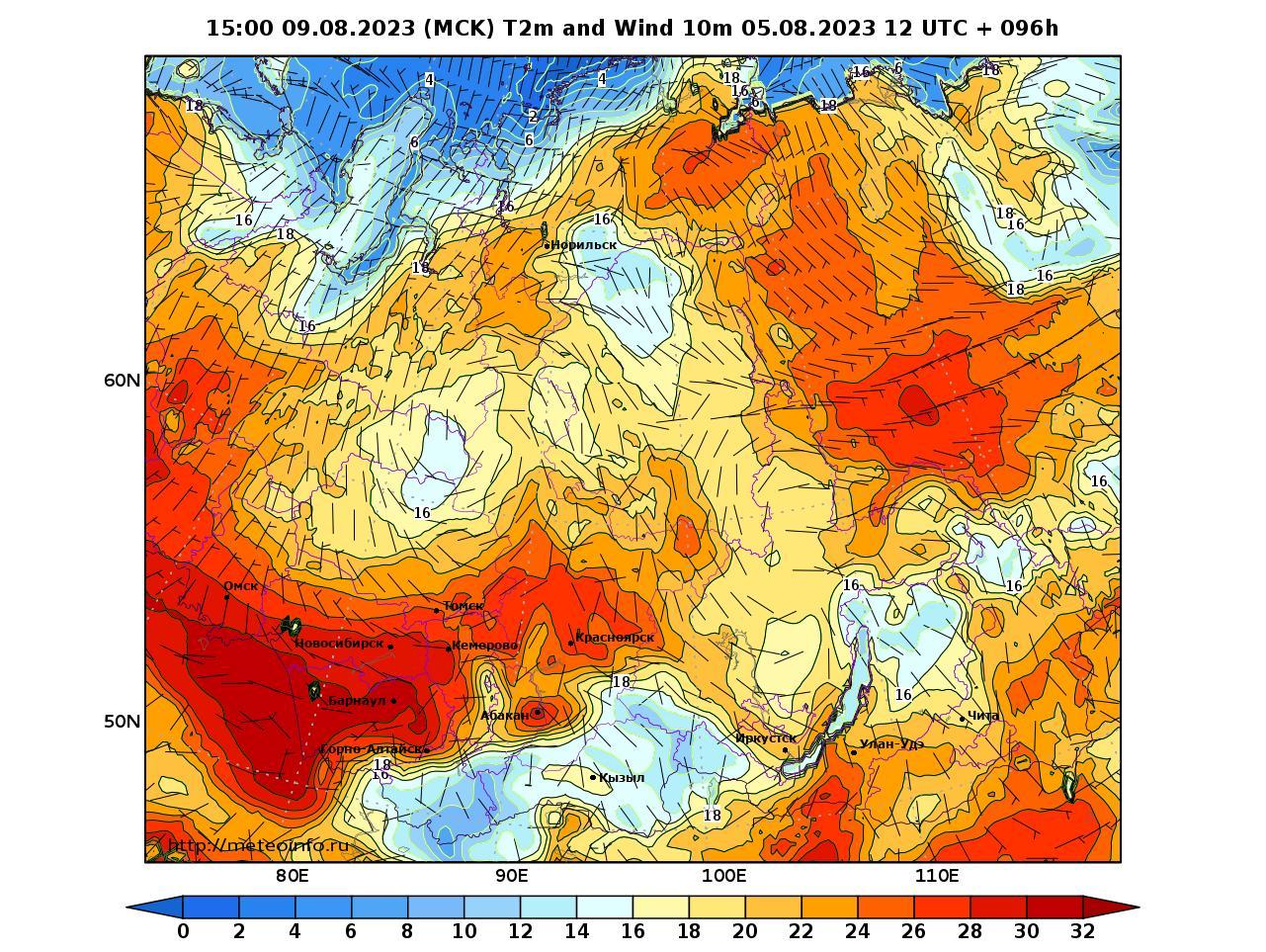 Сибирский Федеральный округ, прогностическая карта приземная температура, заблаговременность прогноза 96 часов