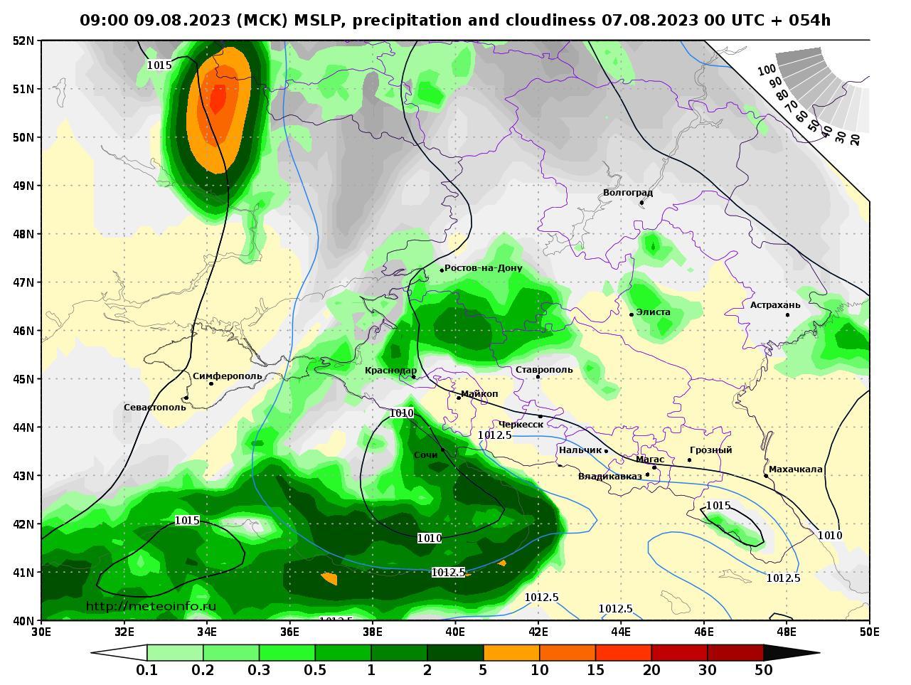 Южный Федеральный округ, прогностическая карта осадки и давление, заблаговременность прогноза 54 часа