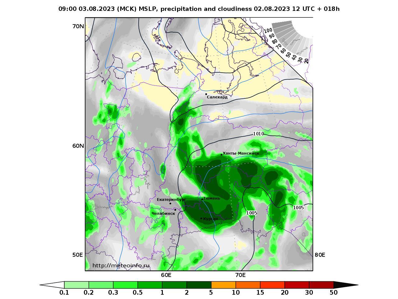 Уральский Федеральный округ, прогностическая карта осадки и давление, заблаговременность прогноза 18 часов