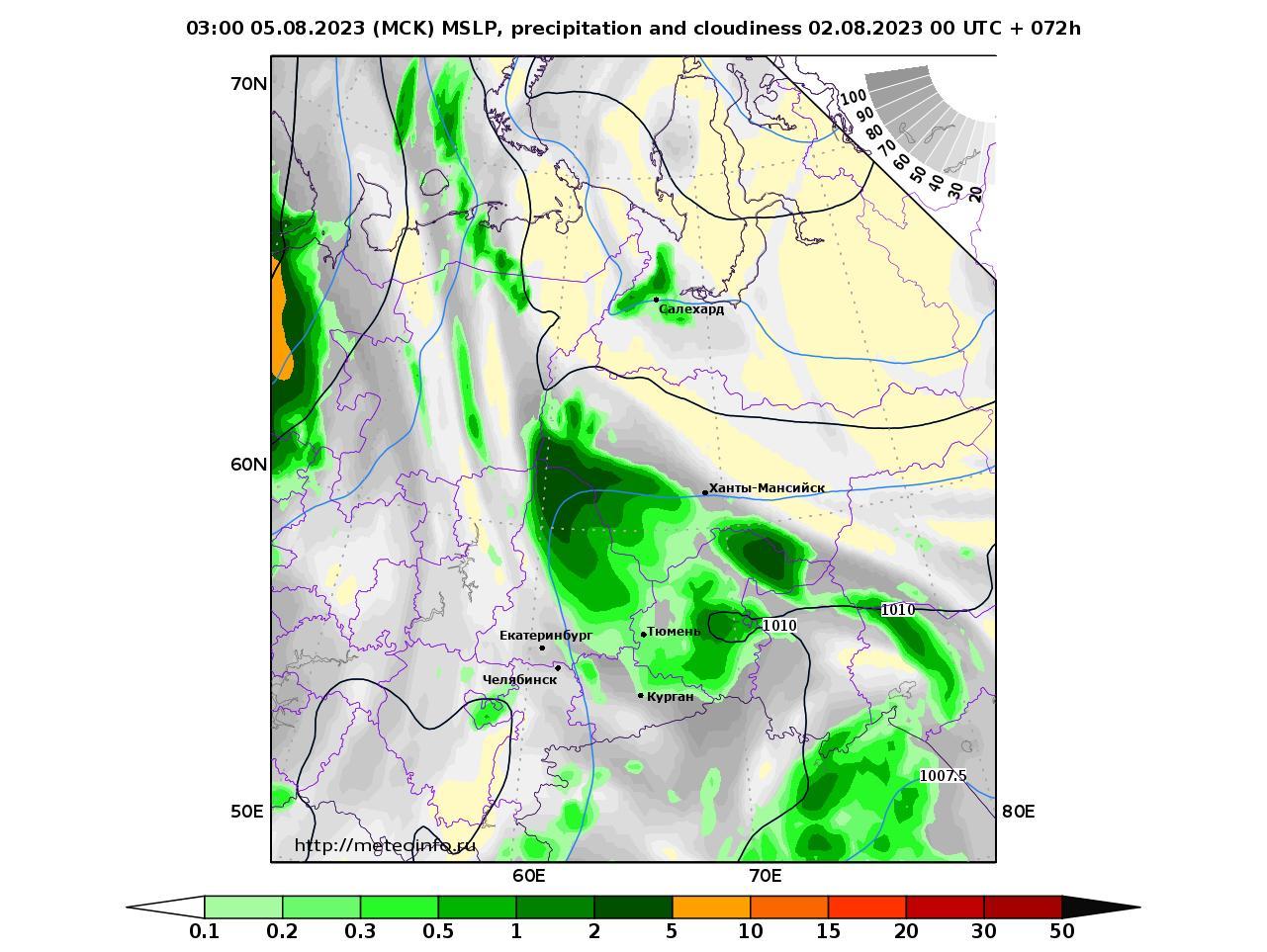 Уральский Федеральный округ, прогностическая карта осадки и давление, заблаговременность прогноза 72 часа