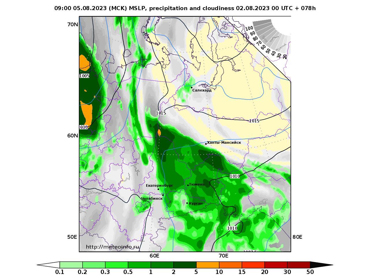 Уральский Федеральный округ, прогностическая карта осадки и давление, заблаговременность прогноза 78 часов