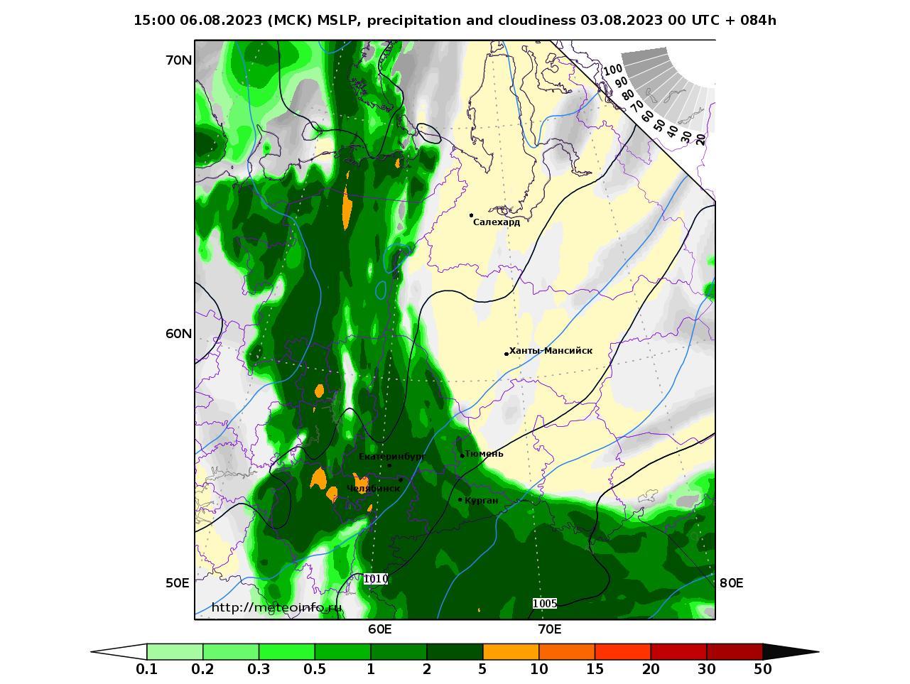 Уральский Федеральный округ, прогностическая карта осадки и давление, заблаговременность прогноза 84 часа