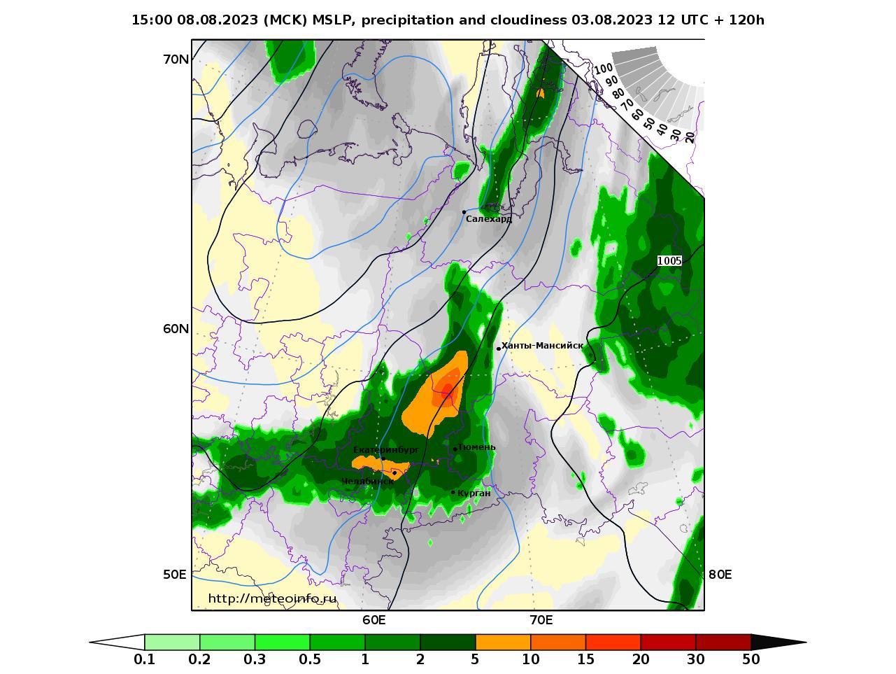 Уральский Федеральный округ, прогностическая карта осадки и давление, заблаговременность прогноза 120 часов