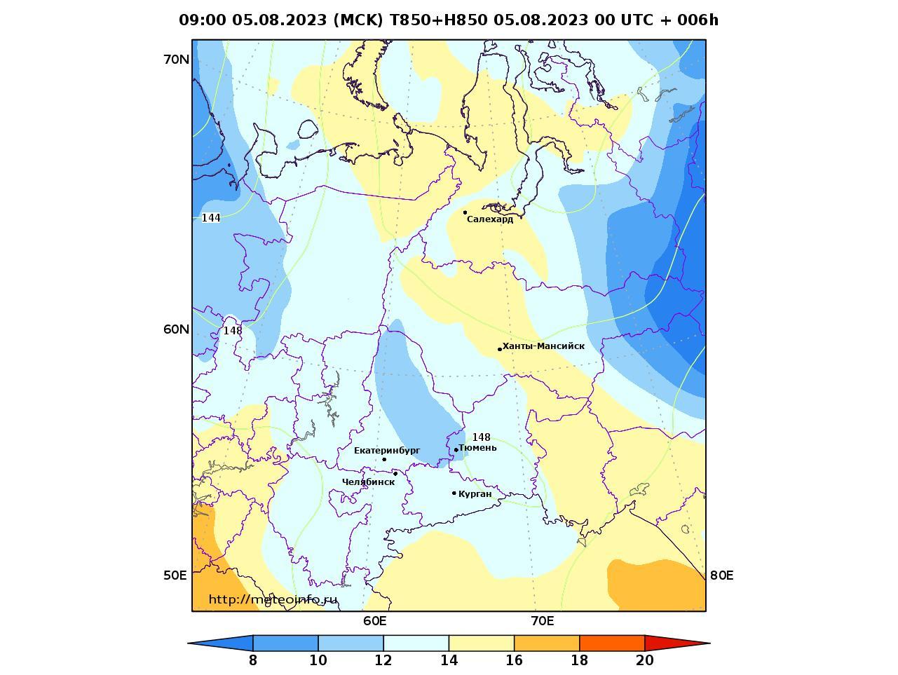Уральский Федеральный округ, прогностическая карта температура T850 и геопотенциал H850, заблаговременность прогноза 6 часов