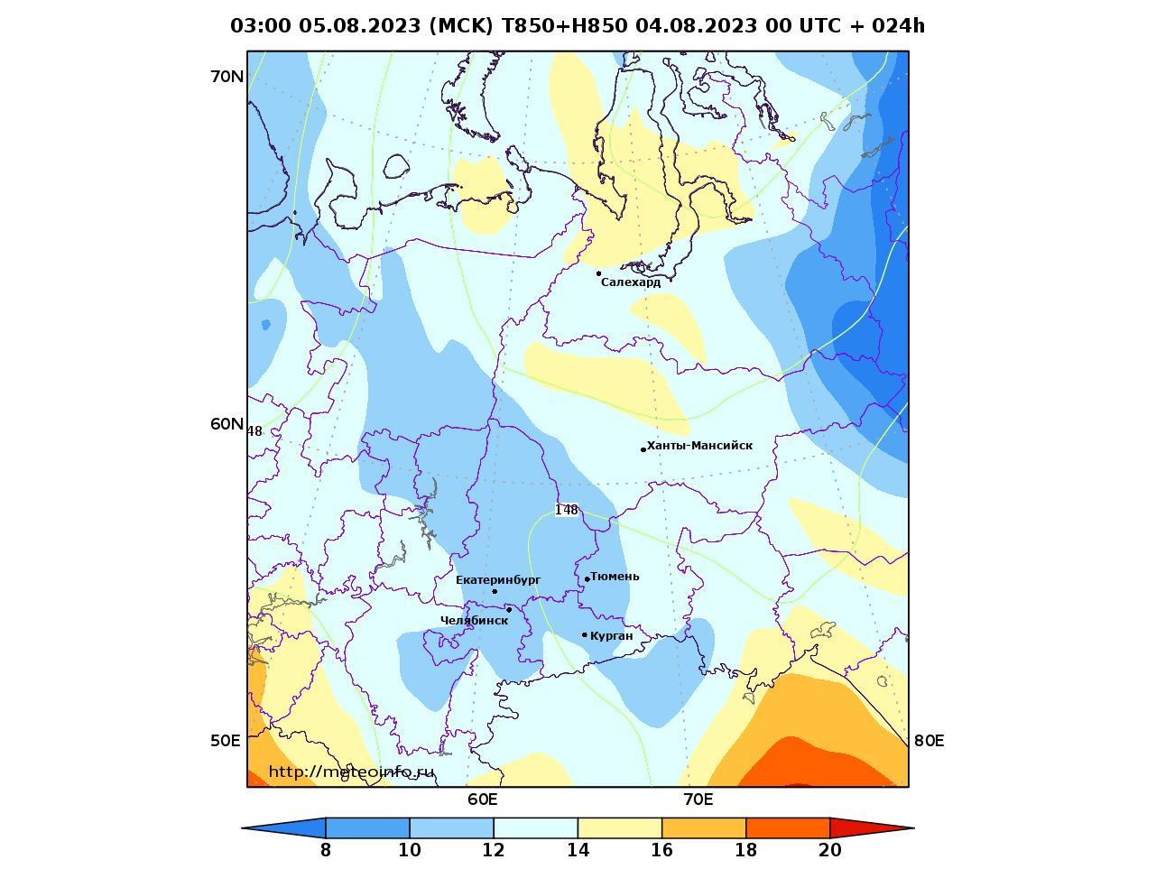 Уральский Федеральный округ, прогностическая карта температура T850 и геопотенциал H850, заблаговременность прогноза 24 часа