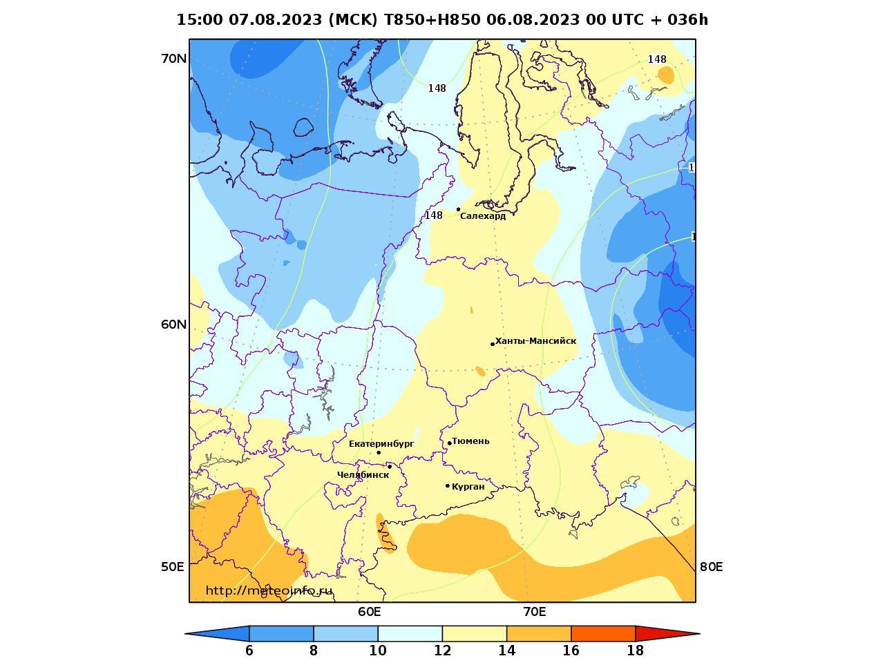Уральский Федеральный округ, прогностическая карта температура T850 и геопотенциал H850, заблаговременность прогноза 36 часов