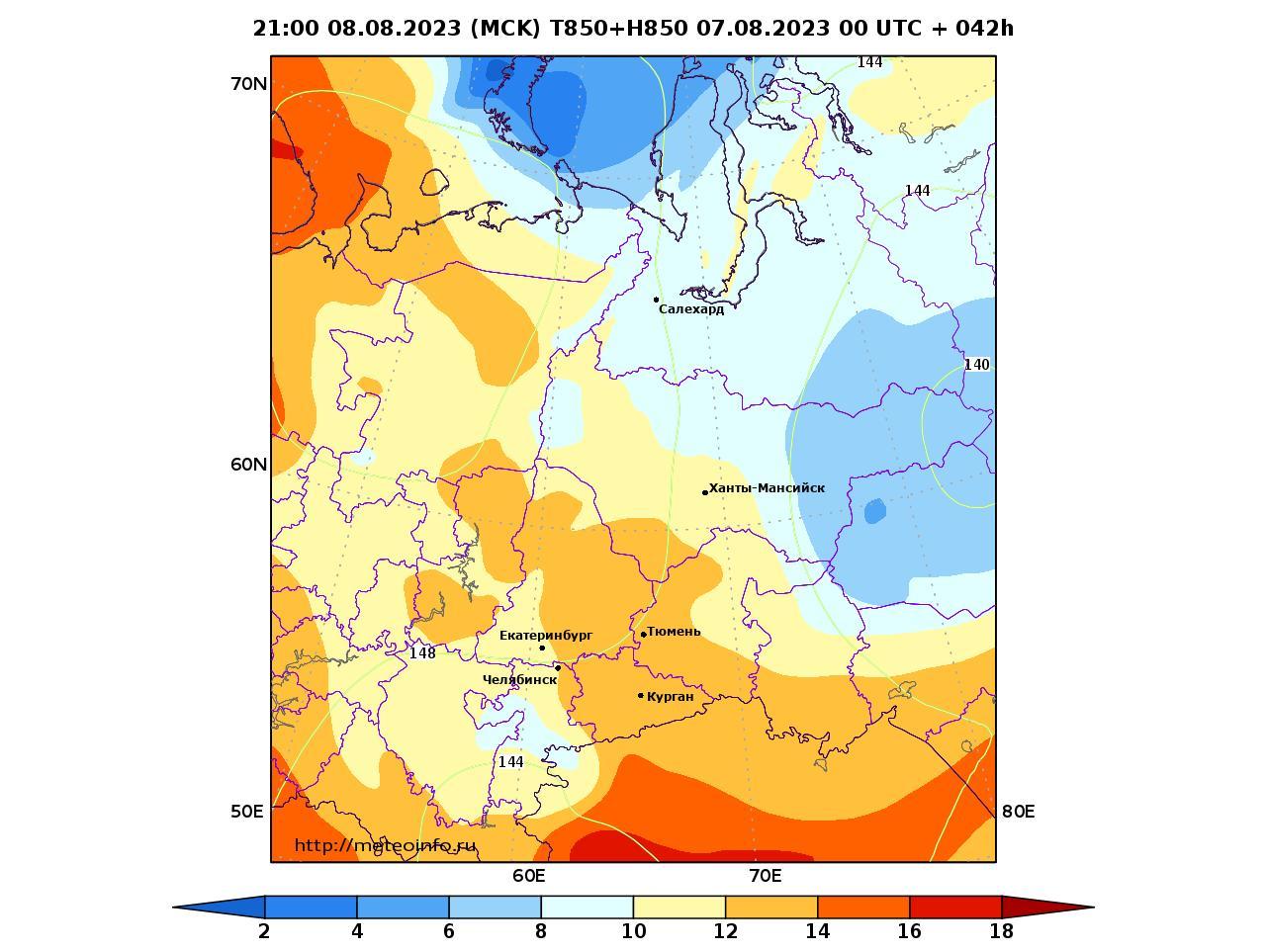 Уральский Федеральный округ, прогностическая карта температура T850 и геопотенциал H850, заблаговременность прогноза 42 часа