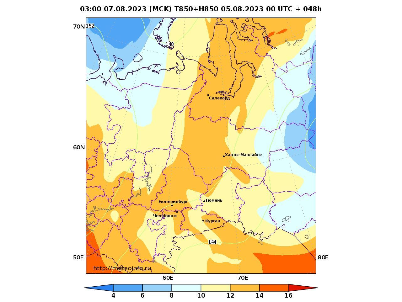 Уральский Федеральный округ, прогностическая карта температура T850 и геопотенциал H850, заблаговременность прогноза 48 часов