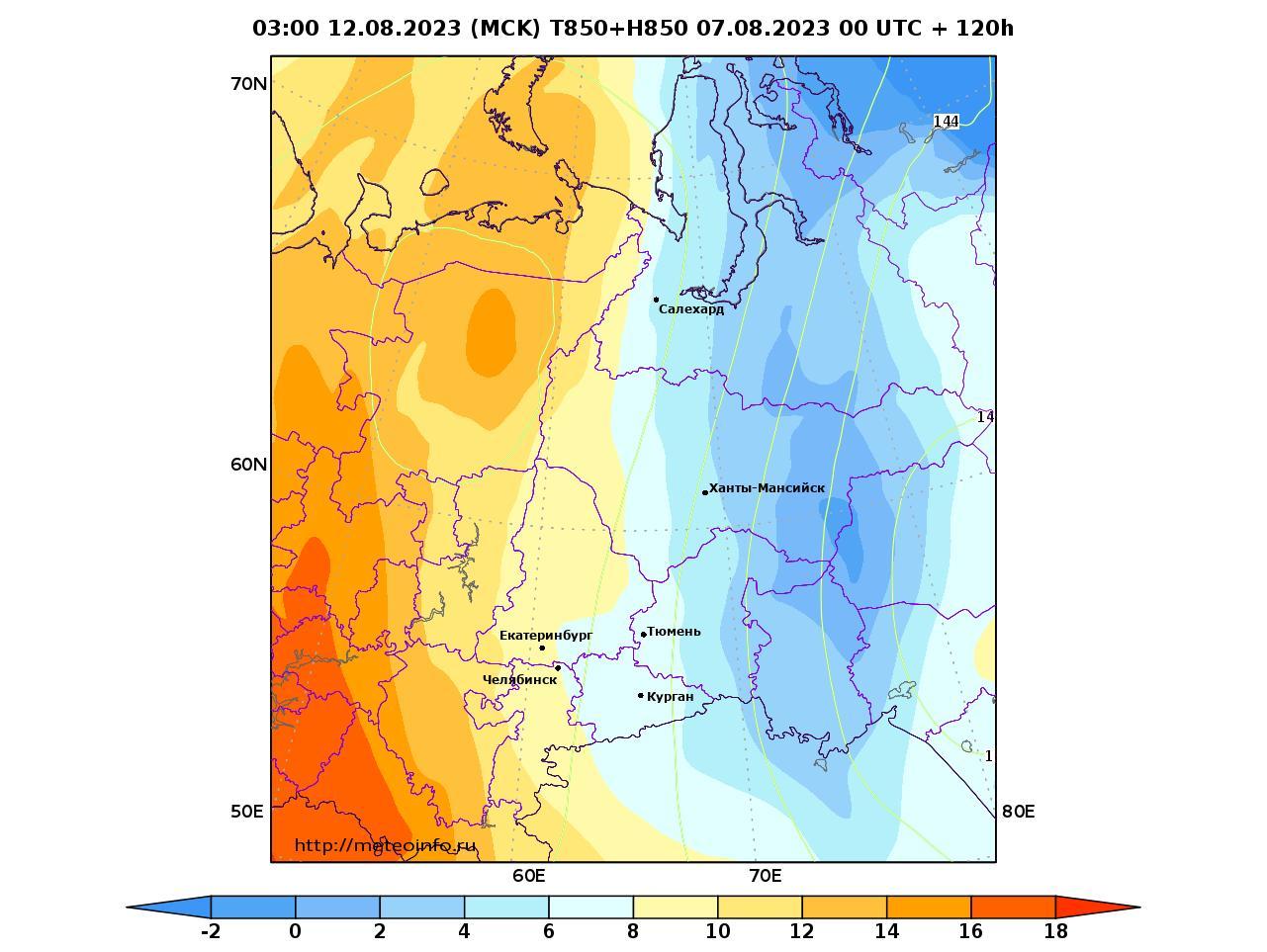 Уральский Федеральный округ, прогностическая карта температура T850 и геопотенциал H850, заблаговременность прогноза 120 часов